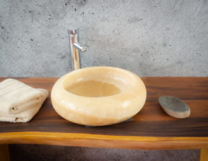 Lavabo de ónyx tipo redondo (Imágenes reales). Medida 40x40x12cm
