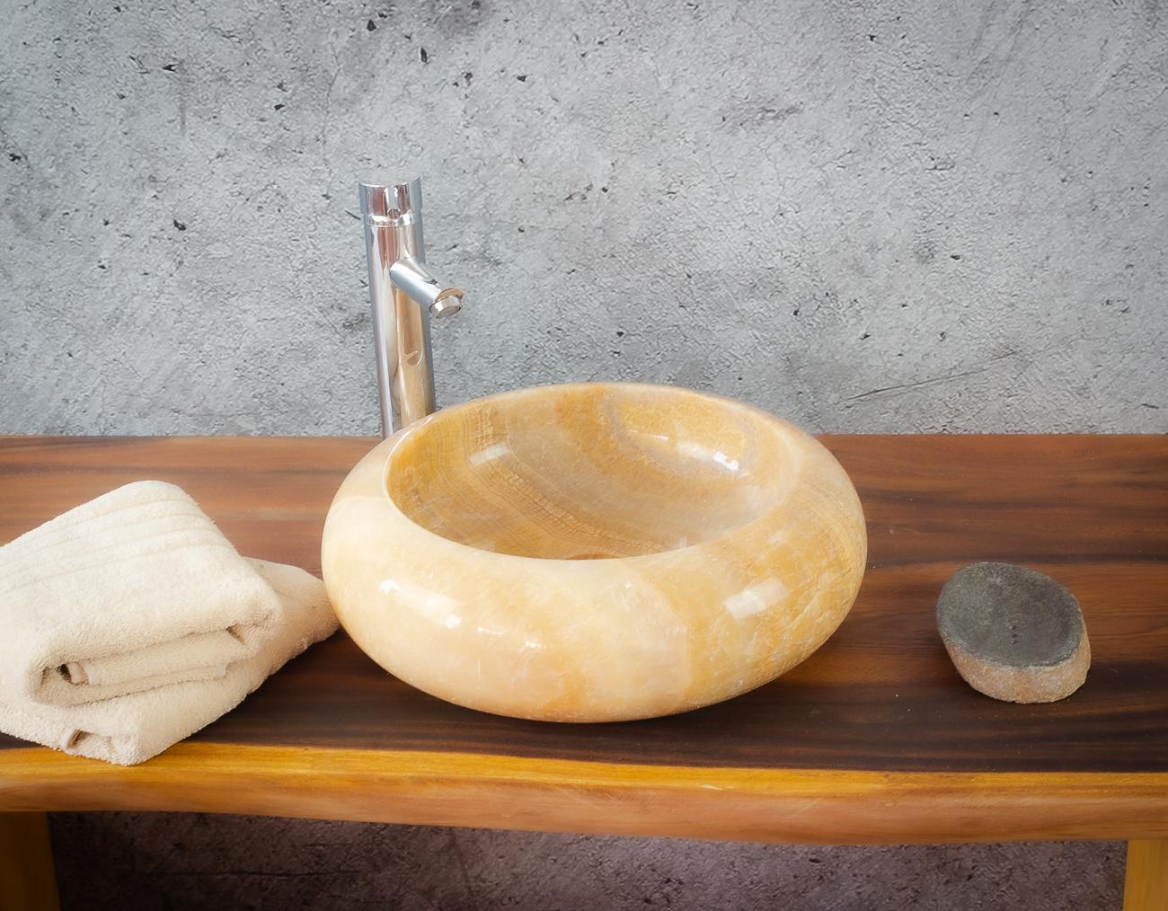 Lavabo de ónyx tipo redondo (Imágenes reales) 40x40cm piezas únicas | mirococo.com