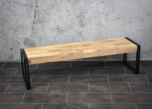 Banco mosaico de madera de teca y hierro