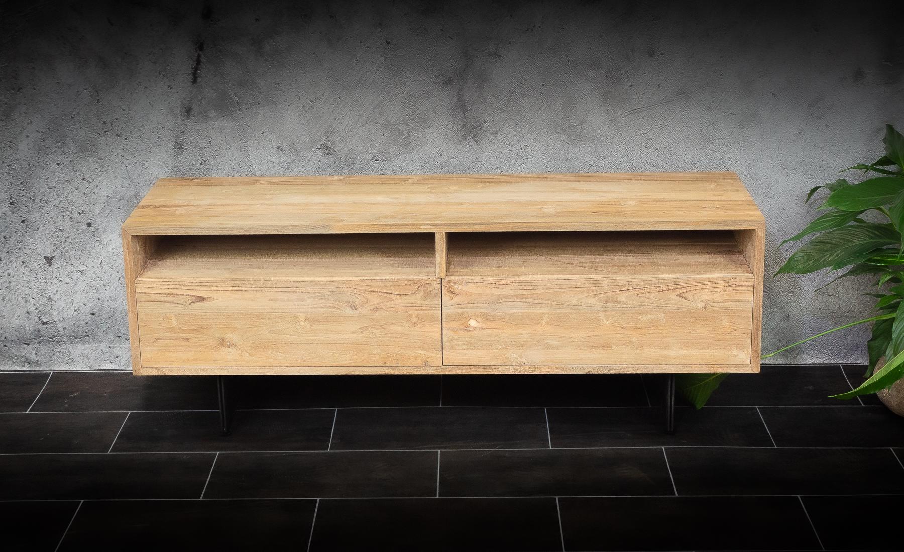 Mueble TV de madera de teca maciza sostenible