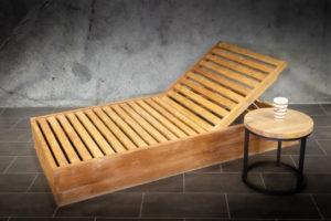 Tumbona de madera de teca reclinable de 90x180cm