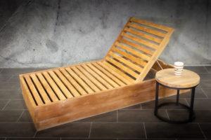 Tumbona de madera de teca reclinable