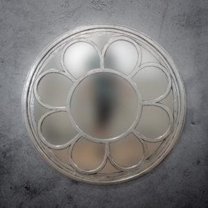 Espejo de pared decorativo Round Ozone de 120cm en Plata (envejecida)