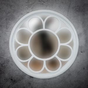 Espejo de pared decorativo Round Ozone de 120cm WHITE DUCO de 120x120cm. Rococó