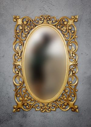 Espejo de pared decorativo Oval Java Island de 120x90cm G de 90x120cm. Rococó