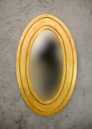 Espejo decorativo de madera Bulig Oval de 60x100cm en Oro (envejecido)