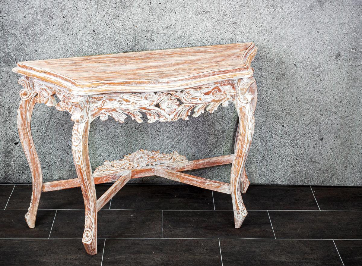 Consola isabelina decorativa blanco decapapo