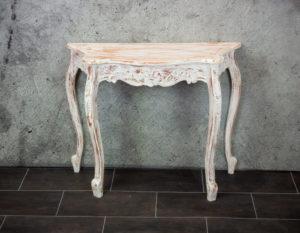 Consola isabelina carving de madera en blanco decapado