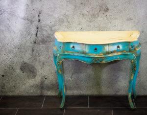 """Consola """"Blue white"""" Vintage Bombay con 3 cajones de 90cm. MiRococo"""
