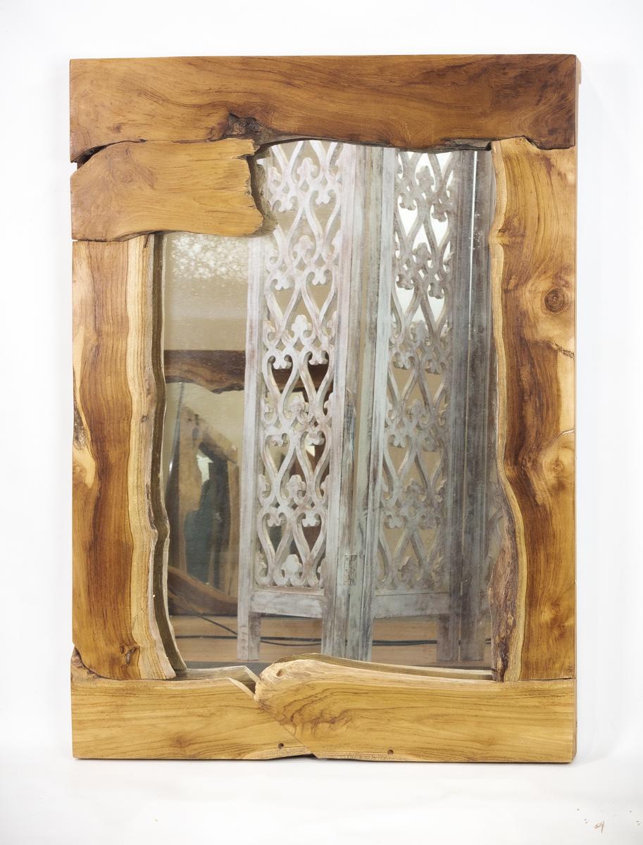 Espejo rústico de madera de Teca de 70x100cm aprox. (exterior). MiRococo