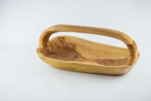 Bandeja alargada con asa de madera de Teca de 40x20x15 aprox.. MiRococo