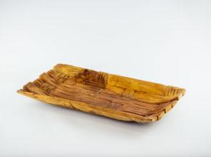 Bandeja rectangular tallado en madera de Teca de 40x21x4cm aprox.. MiRococo