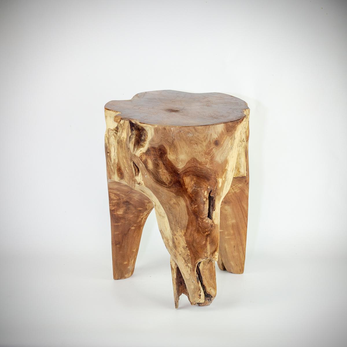 "Taburete/mesa auxiliar ""Threeleg"" redonda de madera de Teca maciza de 40x30cm aprox.. MiRococo"