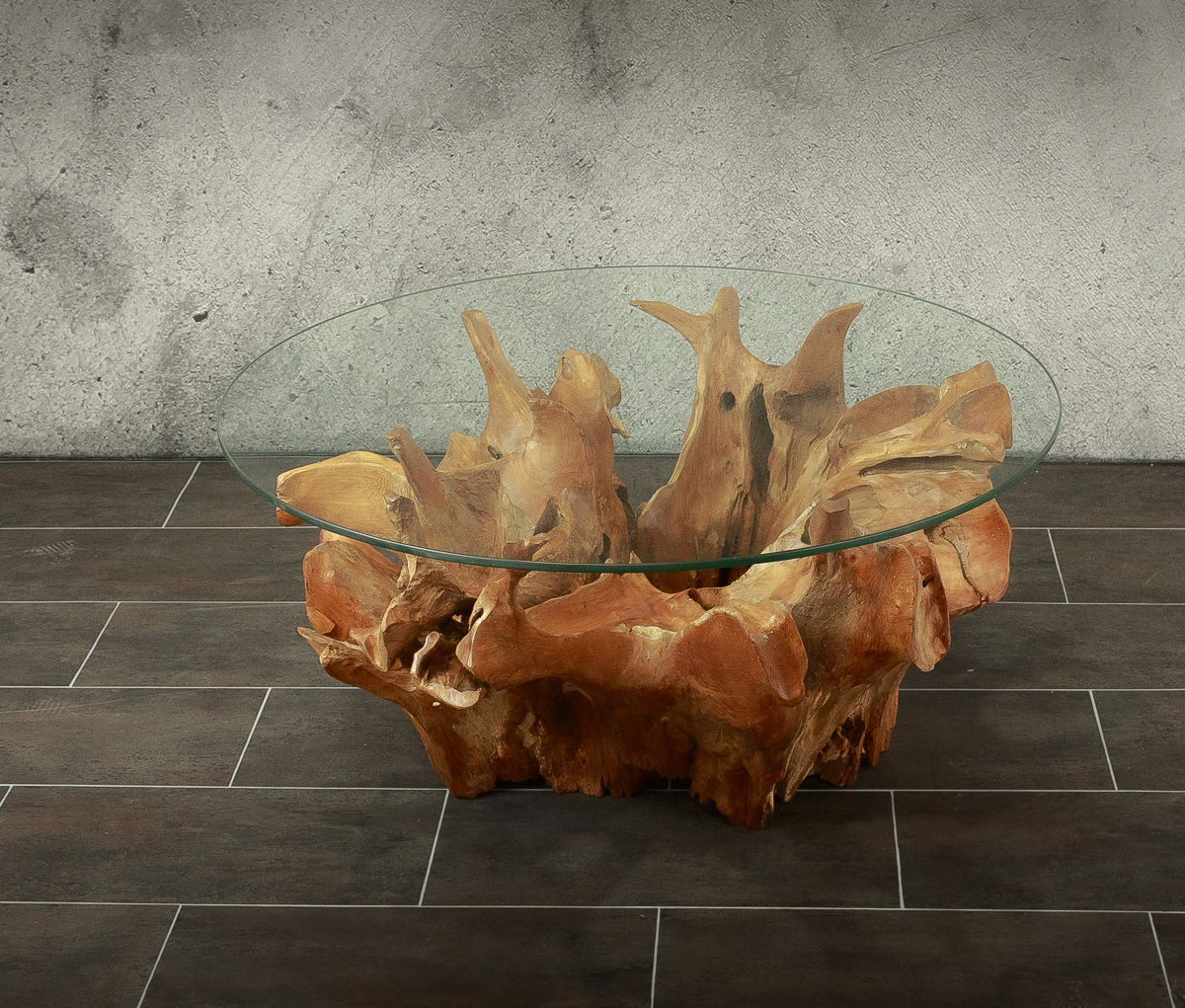 Mesa café de ráiz de teca de 80cm