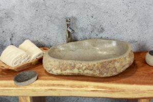 Lavabo grande de piedra River (imagen real). Medida 60X38X14 cm