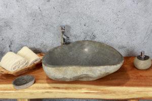 Lavabo grande de piedra River (imagen real). Medida 56X50X15