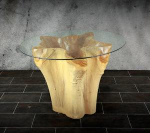 Mesa redonda con hueco central para comedor de raíz de Teca para cristal de 160cm (100x90x76)