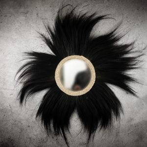 Espejo redondo decorativo Rayung negro de 110cm