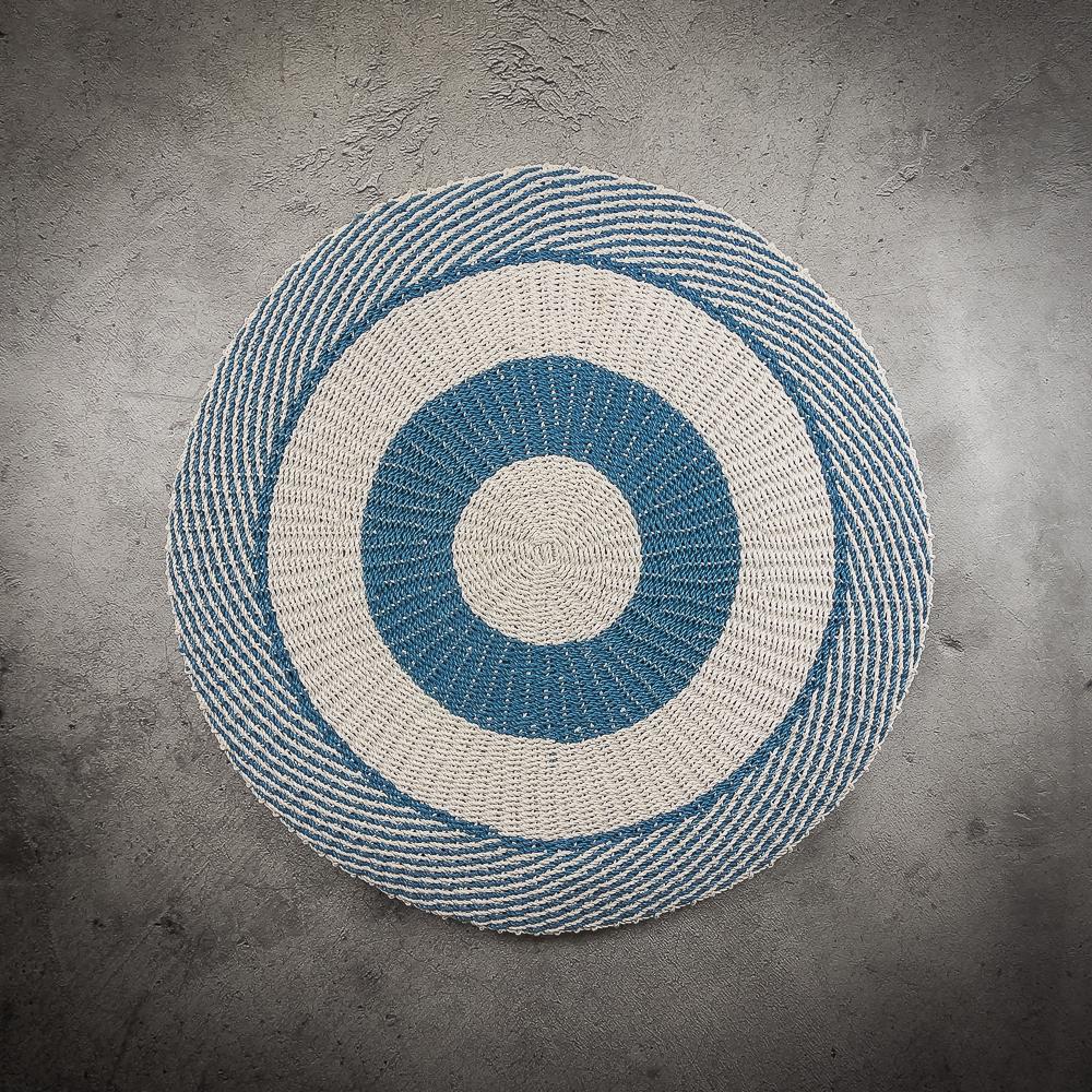 Alfombra redonda círculos azul y blanco