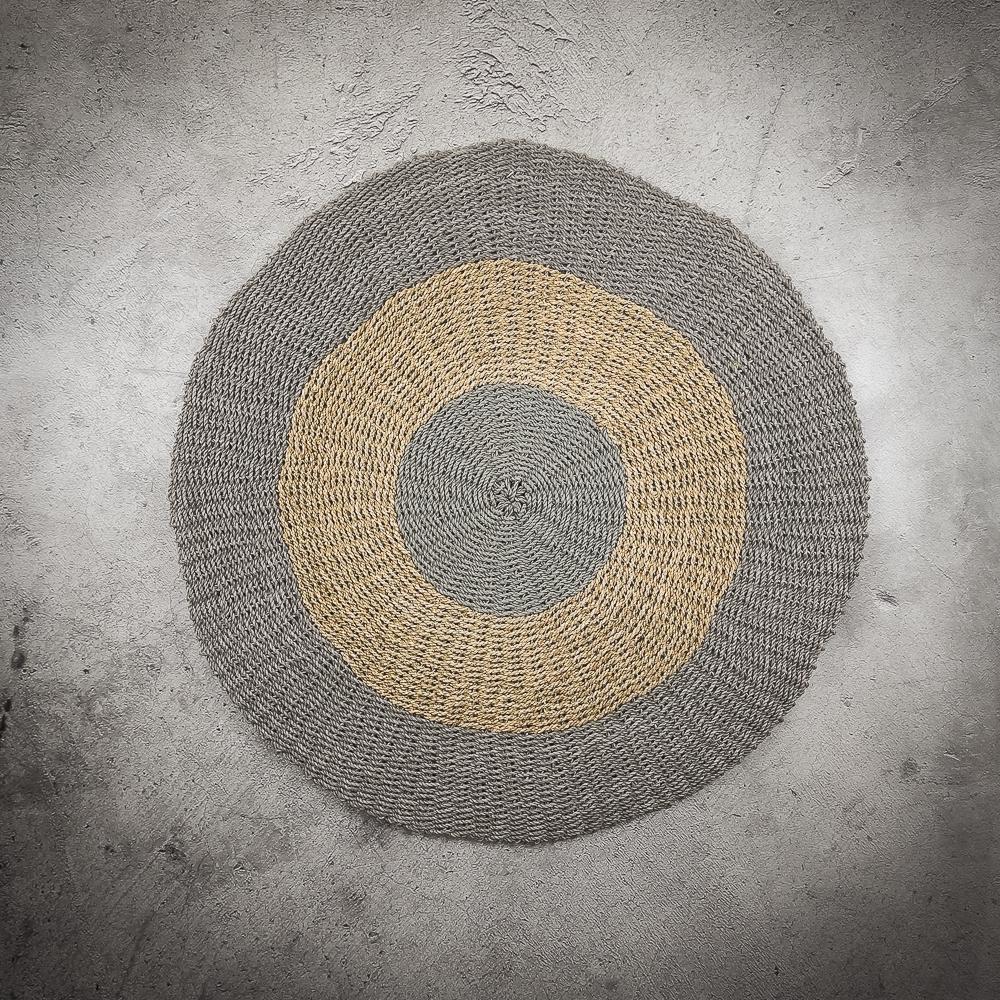 Alfombra redonda gris-natural