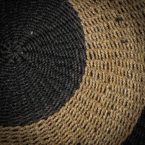 Alfombra redonda natural y negro