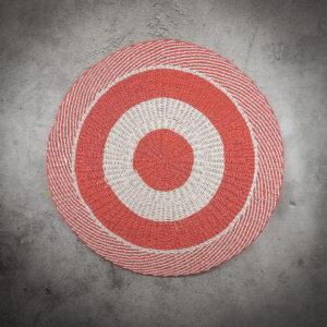 Alfombra redonda de 120cm rojo-blanco