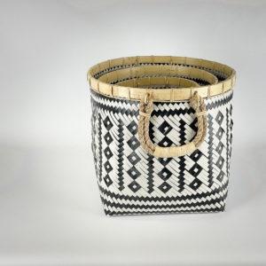 Cesto Diamond vinilo blanco y negro y bambú con asa