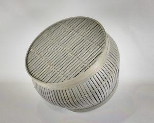 Cesto mesa auxiliar Round Coffe Gris de Bambú (56 y 44cm)