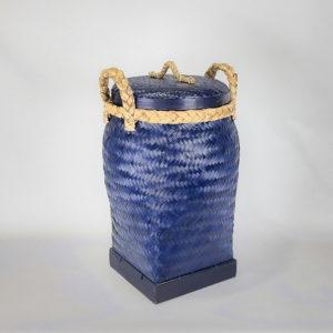 Cesto Bambú tintado de azul de 70x40cm