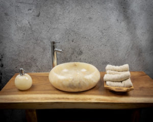 Lavabo redondo de piedra de Ónyx de 40x12cm