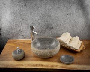 Lavabo pequeño de piedra River (imagen real). Medida 34x28x12cm