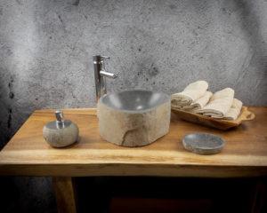 Lavabo pequeño de piedra River (imagen real). Medida 30x27x15cm