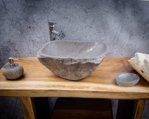 Lavabo de piedra River  (imagen real). Medida 47x35x17cm
