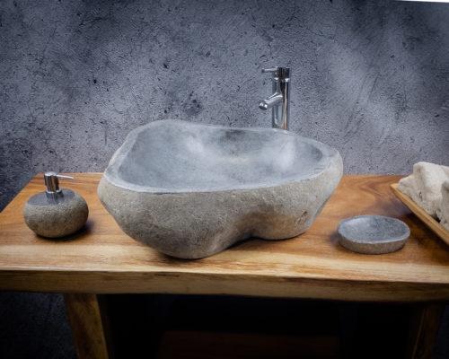 Lavabo de piedra River  (imagen real). Medida 56x52x17cm