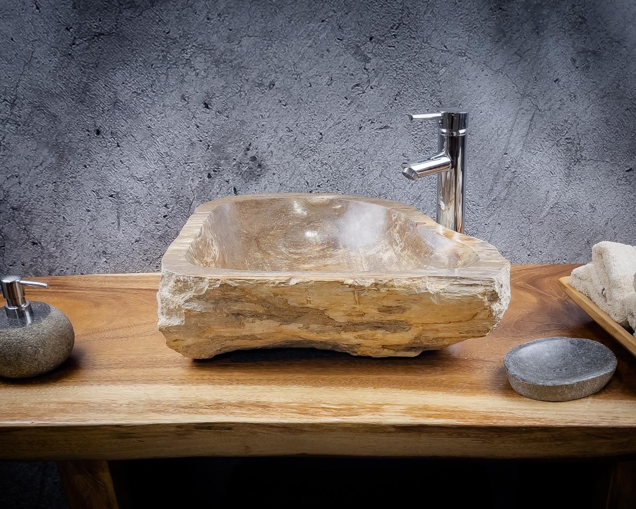 Lavabo mediano de madera natural petrificada (fosilizada) de 44x43x14cm