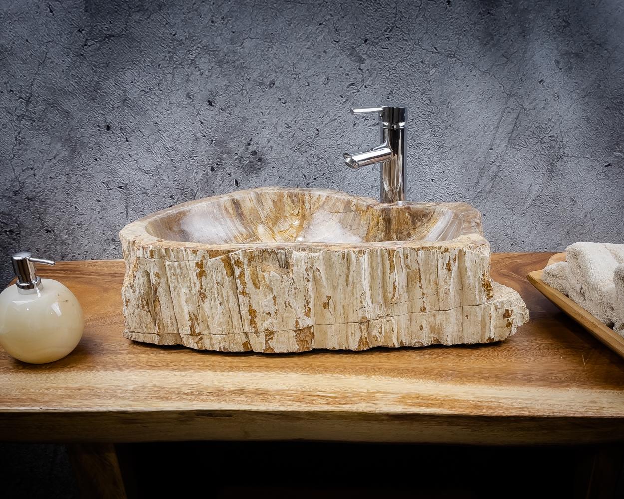 Lavabo grande de madera natural petrificada (fosilizada) de 50x37x15cm