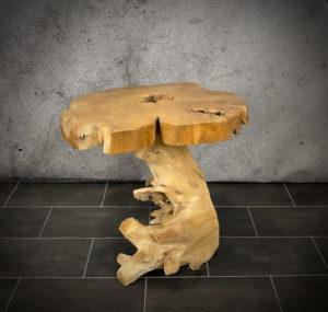 Mesa redonda de café de madera de Teca de 68x48cm
