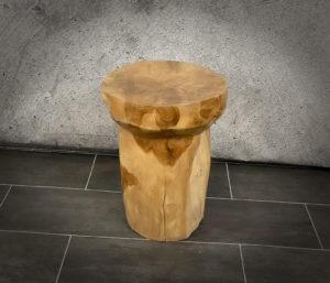 "Taburete/mesa auxiliar ""Champagne"" redonda de madera de Teca maciza de 45x35cm aprox."
