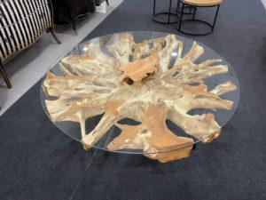 Raíz redonda de teca decorativa de 160x20cm.