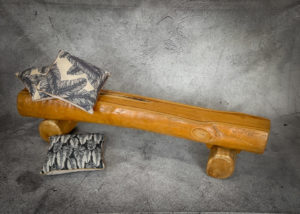 Banco rústico de madera de Teca de 184x33x40cm