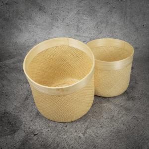 Cesto redondo de bambú de 35x35x30
