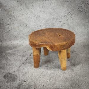 Mesa café redonda rústica de madera de Teca de 60x40