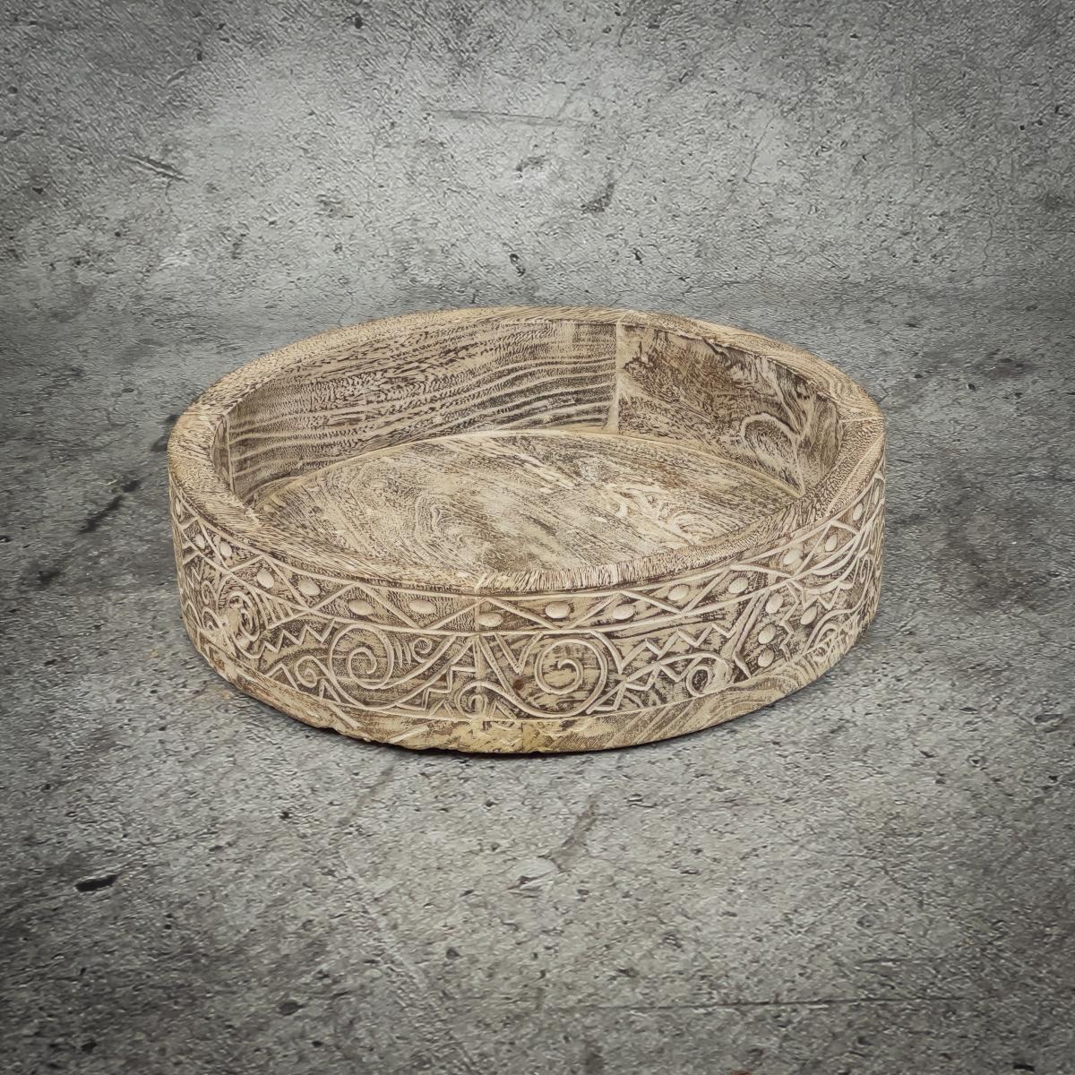 """Pieza redonda decorativa """"Bol"""" de madera tallada y decapado blanco de 50x11cm"""