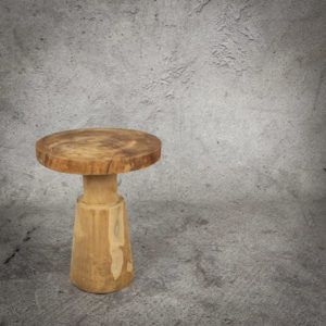 Mesa redonda auxiliar de madera de Teca reciclada de 35x45cm