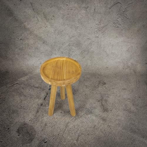 Mesa redonda auxiliar de madera de Teca reciclada de 35x35x55