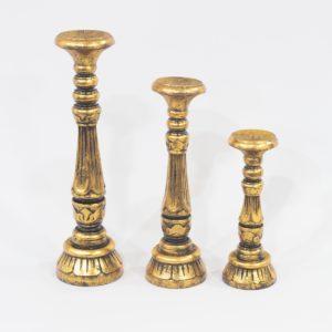 Candelabro Saphire tallado en madera y acabado oro envejecio