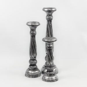Candelabro de madera Lili en plata