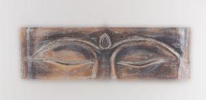 Panel de pared ojos de Buda realizado en madera de 80x25cm