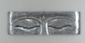 Panel de pared ojos de Buda de madera en plateado de 80x25cm