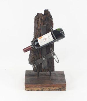 Botellero decorativo de madera natural y hierro para 2 botellas